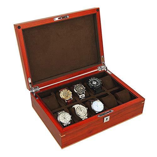 Liuwenan Holz Schmuckschatulle Fach Aufbewahrungsbox Damenuhr Herrenuhr Box Zehnraster Schmuckschatulle Uhr Sammlung Box Geschenk (Color : Brown, Size : 30.5 * 22 * 10CM) (Holz Herrenuhr-boxen)