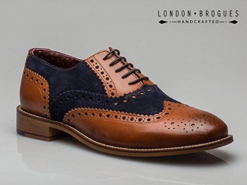 London Brogues Gatsby Herren Halbschuhe, Beige-Marineblau, Größe 47