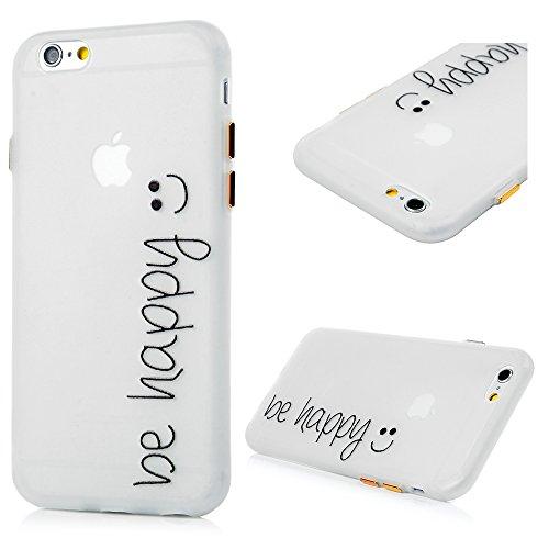 Cover iPhone 6,iPhone 6S Silicone Flessibile Sottile Satinata - Lanveni Custodia Gel TPU Protettiva Shell Case Cover Con Nottilucenti Per iPhone 6/6S Modello di Fiore Diagonal Sorriso
