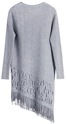 Vogueearth Femmes Longue Manche Crew Neck Knit Tassel Sweater Chandail Tricots Pullover Gris