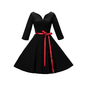 iHAIPI - Damen Kleid mit Kragen Bei 50 Jahre Peas 'Iris' 3/4 Ärmel Kleid (02. Medium, 02. Schwarz)