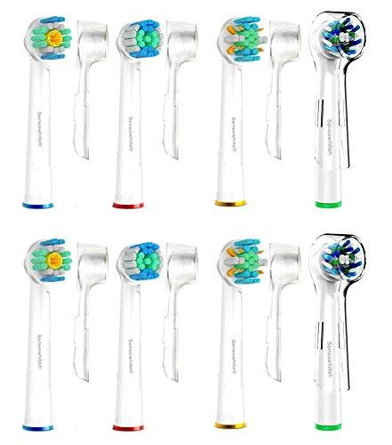 SoniWhite®-Premium 8 Stk. (4x4) Variety Pack von Floss Action, 3D, Trizone and Flexisoft White Ersatzbürstenköpfe kompatibel mit oral b aufsteckbürsten, elektrischen Zahnbürsten Griffen, elektrischen ERSATZ Zahnbürste. Tiefen-Reinigung Voll kompatibel mit Oral-B Schwarz,Flexisoft, Advance Power, ProfessionalCare, Floss Action,Precision Clean, Vitality ,TriZone
