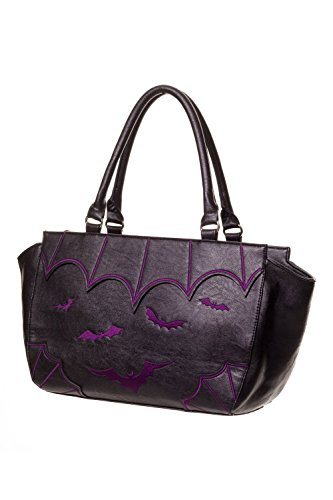 BANNED Clothing PVC Borsa in pelle sintetica, motivo: pipistrelli in stile gotico, colore: viola