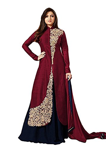 FENNY CREATION Women's Dress Material (Maroon_Free Size)