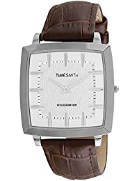 Timesmith Premium Limited Edition White Dial Brown Classic Leather Strap Branded Anaog Watch For Men TSM-135