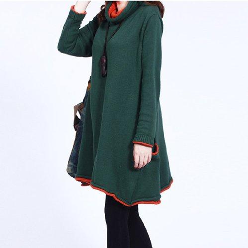 Ama felpa vestito da donna manica lunga pullover sportivo jumper (Verde)