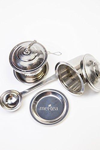 meitea - Tee-Ei Edelstahl Teefilter (2er Set) mit Abtropfschale und Teelöffel - hochwertiges Teesieb & Teekugel - 5