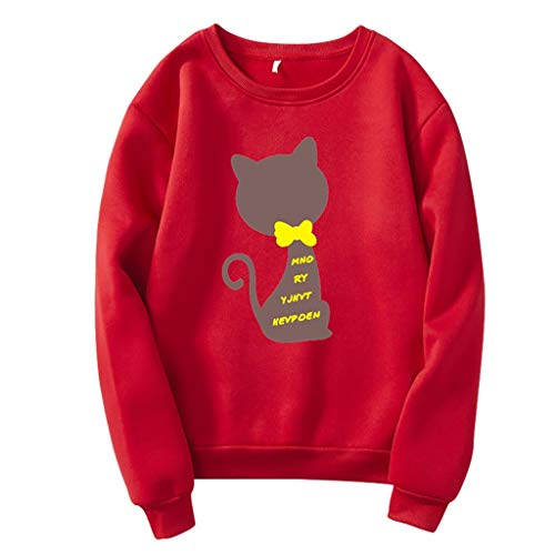 LILIHOT Frauen Art Und WeisebeiläUfiger Loser O-Ansatz Katzen Druck Hoodie Gedruckter Pullover Damen Sweatshirt Rundhalsausschnitt Sweater Sportlicher -