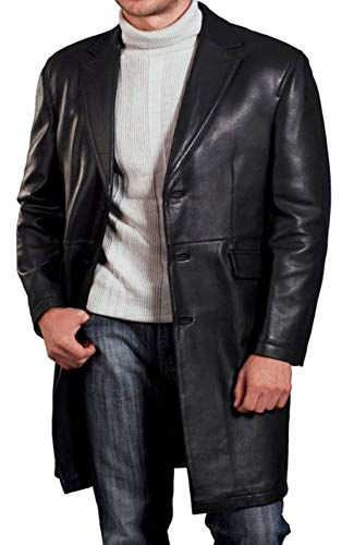 Leatherly Men's David Boreanaz Angel Black Leather Long Jacket Coat-3xl