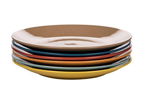 Kaleidos Classique Lot de 6 Assiettes Plate Grès (Céramique) Jaune/Bleu/Orange/Marron/Corail/Pétrole 27 x 27 x 10 cm