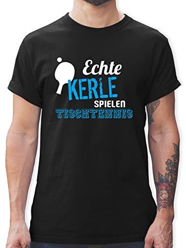 Sonstige Sportarten - Echte Kerle Spielen Tischtennis - L - Schwarz - L190 - Herren T-Shirt Rundhals