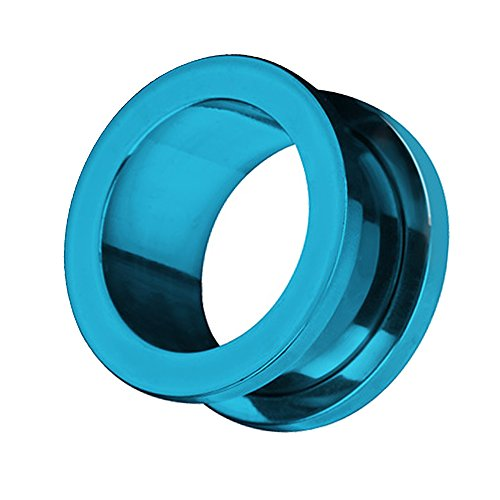 Piercingfaktor Flesh Tunnel Ohr Schraub Ear Plug Piercing Edelstahl Schraubverschluss Ohrpiercing Creole 16 mm Blau