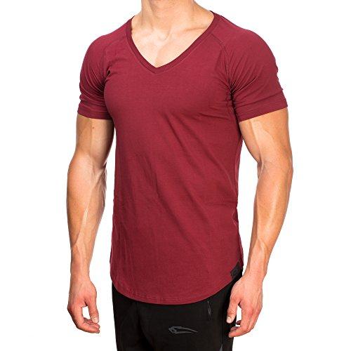 SMILODOX T-Shirt Herren mit V-Ausschnitt | Basic V-Neck für Sport Fitness Gym & Freizeit | Regular T-Shirt Kurzarm - Schlichtes Design - Leichtes Casual Shirt, Größe:S, Farbe:Bordeaux Herren Leder Rot Shirt