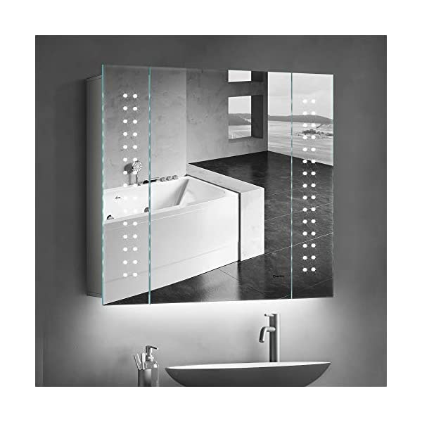 Quavikey Bathroom Cabinet Ambient Lighting Under Cabinet IP44 Aluminum LED Bathroom Mirror Cabinet With Shaver Socket Demister For Makeup Cosmetic Shaver Charging 650 x 600mm 41jKn NynlL