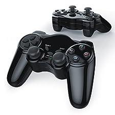 CSL-Computer 2 x Gamepad inalámbrico para PS2 con Doble vibración | Controlador de Mando | Plug & Play | Negro