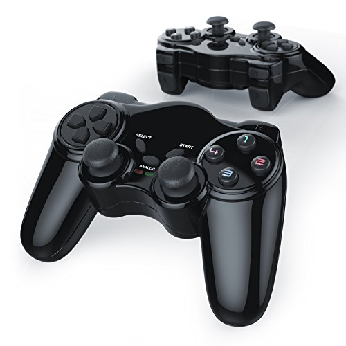 CSL - 2 x Manettes de jeu pour PlayStation 2 | sans fil / wireless | Dual Vibration compris | Manette Joypad | Plug-and-Play | noir