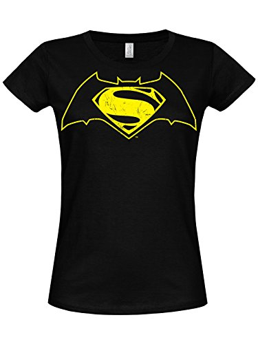 Batman vs Superman Logo Mujeres camiseta de (Black) negro Large
