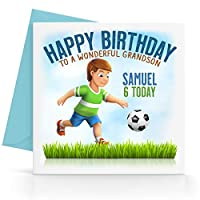 Personalised Boys Football Birthday Card Any Age, Relative & Message