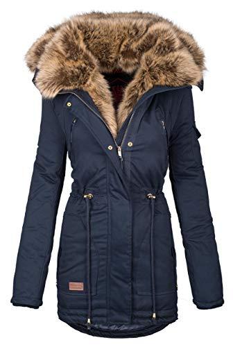 Navahoo warme Damen Winter Jacke Parka lang Mantel Winterjacke Fell Kragen B380 [B380-Navy-Gr.M] Lange Damen Winter Mäntel