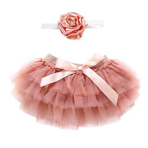 Neugeborenen Kinder Tutu Röcke + Stirnband, Baby Mädchen Blume Bowknot Tüll Outfits Kleidung Gaze Rock Set (0M-24M) Ostern (Orange,70)