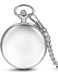 Regalo de papá Día del Padre Jewelrywe Retro Reloj de Bolsillo Plateado  mecánico bbf10c6fdd1e