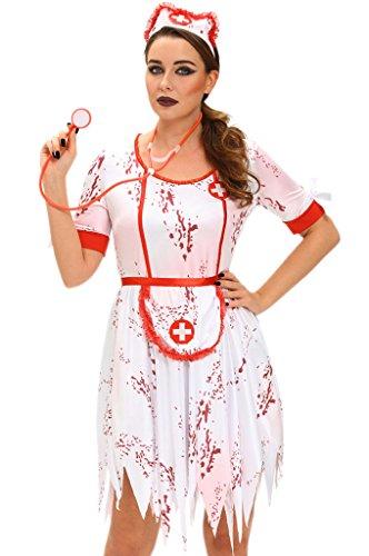 Fortuning's JDS Frauen 3pcs schreckliches Zombie-Krankenschwester-Kleid-Kostüm (Plus Size Alice Im Wunderland Halloween Kostüme)