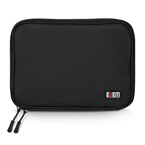 BUBM Electronics Accessories Bag Cable Organizer USB Drive Shuttle Hard Drive Case with Cable Tie Medium Size (Black)