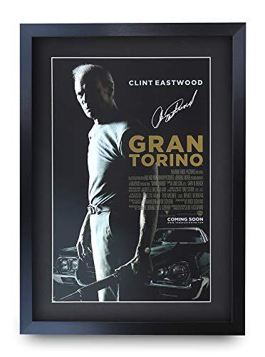 HWC Trading Gran Torino A3 Gerahmte Signiert Gedruckt Autogramme Bild Druck-Fotoanzeige Geschenk Für Clint Eastwood Filmfans (Clint Eastwood Leinwand)