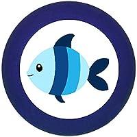 Möbelknopf Möbelgriff Möbelknauf Jungen hellblau dunkelblau blau Massivholz Buche - Kinder Kinderzimmer Fisch blau hellblau gestreift Meerestiere maritim -