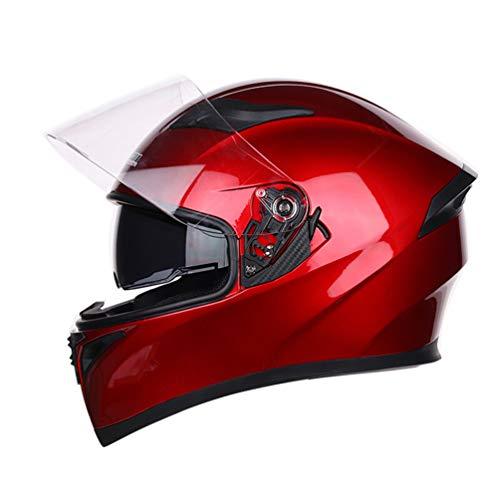 Qianliuk Motorrad-Motorrad-Helm Erwachsene Persönlichkeit Dazzling Full Face Helm Anti-Fog Double Lens Helm
