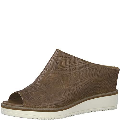 Tamaris 1-1-27200-22 Damen Pantoletten,Pantolette,Hausschuh,Pantoffel,Slipper,Slides,Touch-IT,Cognac Struct,38 EU -