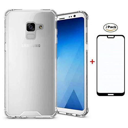 Funda para Samsung Galaxy J6 Plus 2018 Case + 2*Protector de Pantalla de Vidrio Templado Lanpangzi Transparente Claro TPU Silicona Cojín de Aire Diseño Anti-Choques Carcasa