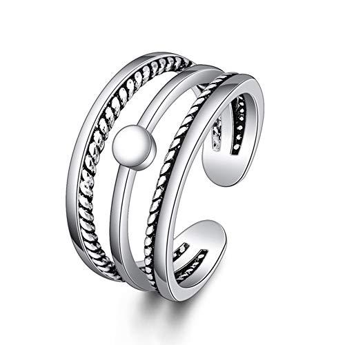 Hanie Vintage Ring 925 Sterling Silber, 3 Linien Thai Silber Offen Verstellbar Retro Ring, Veränderbar Punk Band Ring, Unisex Schmuck für Frauen Männer Mädchen Jungen Passt Daily Life & Party