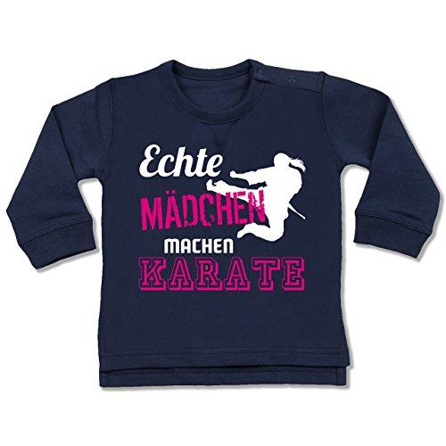 Sport Baby - Echte Mädchen Machen Karate - 12-18 Monate - Navy Blau - BZ31 - Baby Pullover