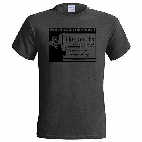 The Smiths, Band-T-Shirt für Herren, Aufdruck: Poster zum Auftritt der Band aus Manchester an der Universität Dundee Gr. Large, anthrazit
