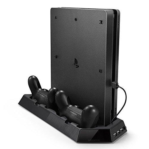 Soporte Vertical de PS4 Pro, Rixow Ventilación para Playstation 4 PRO con 2 Ventiladores y 3 USB, Color Negro.