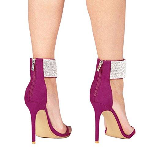 Damen Open Toe Glitzer Sandalen High-Heels Stiletto Fellsamt mit Reißverschluss Violett