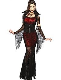 Fortuning's JDS Sexy de Halloween sangriento Novia del vampiro de la bruja de la araña del cordón del vestido del traje de Cosplay