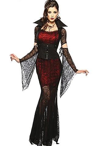 Fortuning's JDS Sexy Halloween Blutige Vampire Bride Hexe Spinne Spitze Kostüm-Kleid Cosplay (Saw Themed Kostüme)