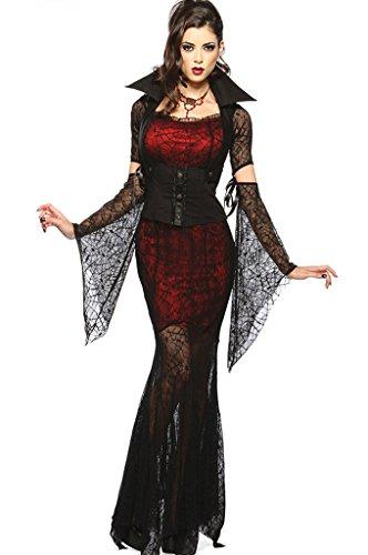 Halloween Blutige Vampire Bride Hexe Spinne Spitze Kostüm-Kleid Cosplay (Geist Halloween-kostüme Für Hunde)
