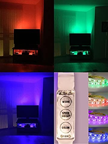 Ruban lumineux LED RVB GnG, longueur 200 cm. Kit d'éclairage ROUGE VERT BLEU pour fond de téléviseur ; fourni avec câble générique 5 V USB U5R