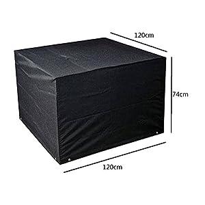 Meijunter 120*120*74cm Schwarz Garten Möbel Wasserdicht Hülle Schutz für Platz Würfel Tabelle Bank