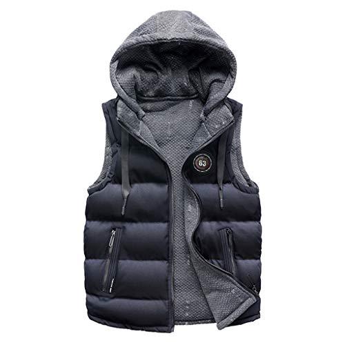 Setsail Herren Fashion-Top WinterHerrentel doppelseitig tragen Baumwolle warme Kapuze Dicke Weste Jacke Top (Fischgräten-kleid Baumwolle)