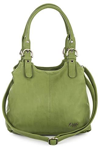 Designer Inspiriert Wildleder Handtasche (Mabel London Mehrfachtaschen Mittlere Größe Umhängetasche/Schultertasche für Frauen - Mit langem Schulterriemen - AMELIA (Grün (Limette)))