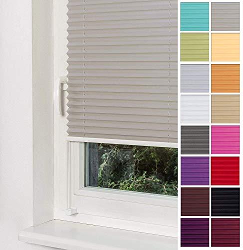 Home-Vision Premium Plissee Faltrollo ohne Bohren mit Klemmträger / -fix (Grau, B80cm x H200cm) Blickdicht Sonnenschutz Jalousie für Fenster & Tür