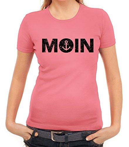Geschenkidee Küsten Hamburg Plattdeutsch Norddeutsch Norden Damen T-Shirt Moin Anker, Größe: M,Rosa