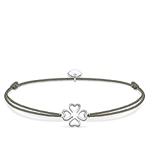 THOMAS SABO Damen Armband Little Secret Kleeblatt Kleeblatt Little Secret 925er Sterlingsilber, Nylon LS017-173-5