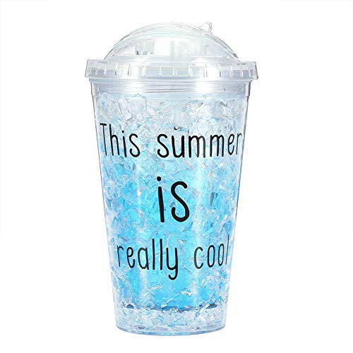 Kunststoff transparent Eisbecher, Sommer gekühlte Tassen mit Strohhalm(Blau 450ml)