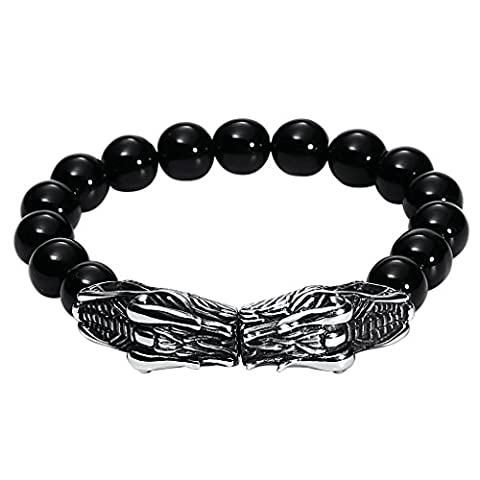 Gnzoe Hommes Acier inoxydable Stretchable Noir Onyx Beads Bangle Bracelet with Dragon Heads 23.5x1.5CM