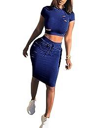 75ab15c3596e Aelegant Damen Sommer Reizvolles 2 teiler Clubwear mit Löcher aus Kurzarm  Bauchfrei Crop top  Hüftrock Minirock
